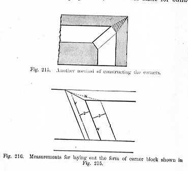 Another method of constructing the corners Fig 215 - Measurements for laying out the form of corner block shown in Fig 215 - Fig 216