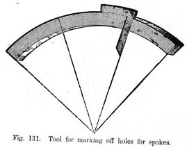 Tool for marking off holes for spokes Fig 131