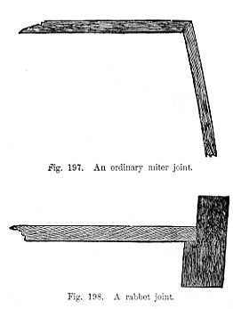 Ordinary miter joint Fig 197 - Rabbet joint Fig 198