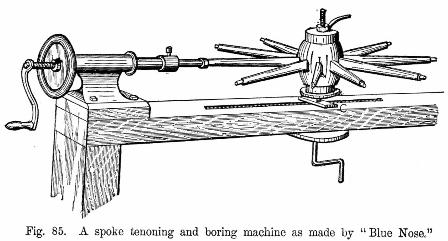 A spoke tenoning and boring machine as made by Blue Nose fig 85
