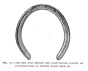 Fig 52. Horse Shoe - Toe and Side Weight and Plain Racing Plates, as Manufactured by Bryden Horse Shoe Company